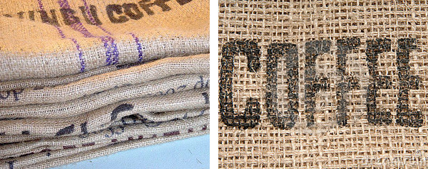 Coffee Burlap bag which will be used in custom quilt