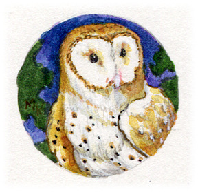 Barn Owl original art - It will be set in a pendant like those above.  I'm just out of findings right now! :)