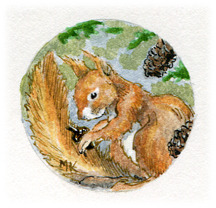 Red Squirrel original art - It will be set in a pendant like those above.  I'm just out of findings right now! :)