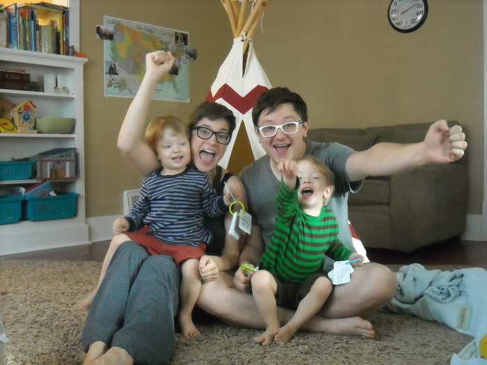 Our family celebrating in our pajamas this Summer after our first Kickstarter campaign was funded!