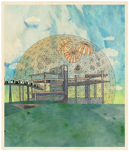 Montreal Expo Dome Wood Print