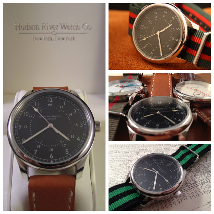 """Front Street"" (Silver) - Comes with brown leather strap pictured on left. [40mm case diameter, 20mm strap size]"