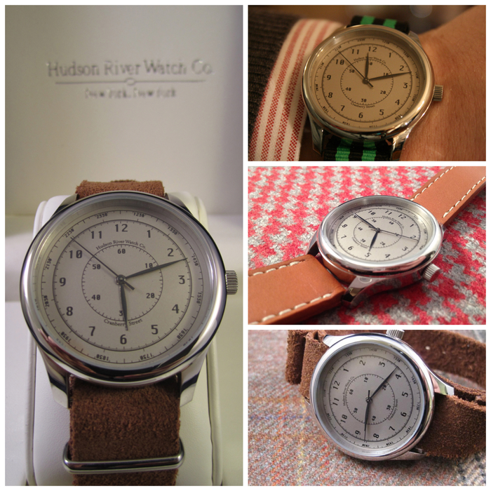 """Cranberry Street"" - Comes with brown leather strap pictured on left. [40mm case diameter, 20mm strap size]"