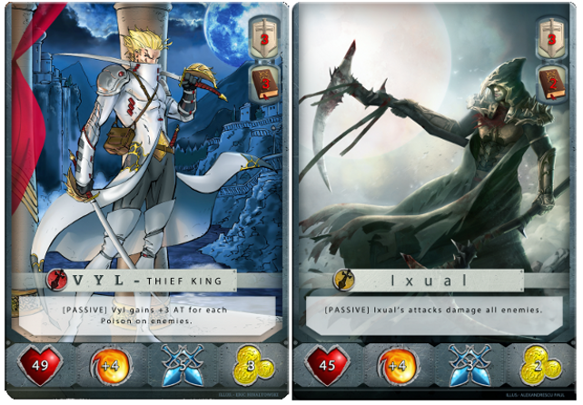 Example Guild Tactics Cards: Vyl and Ixual