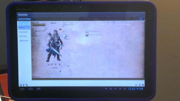Pathfinder  concept skin on an Android Xoom