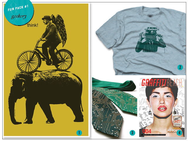 1 & 2. Tee and 11 x 17 Print by Urban Octopus 3. Circuit Board Tie by Scatterbrain 4. Print Issue of Summer 2013 Magazine