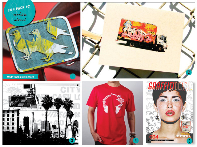 1. Skateboard Belt Buckle by Mukee 2. Set of 4 Graffiti Truck Note Cards by 33 Stewart Ave. 3. 8 x 10 Print by Brandie Mata 4. Headphones tee by Neoclassics 5. Print Copy of Summer 2013 Magazine