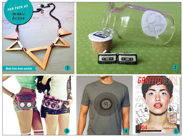1. Drum Cymbal Necklace by Chime 2. Cassette Studs by Unicorn Crafts 3. Jammypack (1 included in package, may choose color via email support@shopgraffitibeach.com) 4. Record Tee by Fortune 421 5. Print Copy of Summer 2013 Magazine