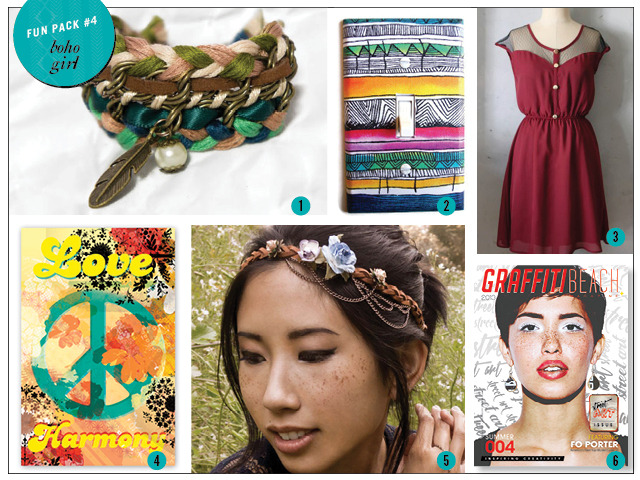1. Bracelet by Ardent Reverie 2. Light Switch Cover by Pop Goes the Color 3. Dress by Fleet Collection 4. 11 x 17 Print by Brandie Mata 5. Headdress by Ardent Reverie 6. Print Copy of Summer 2013 Magazine