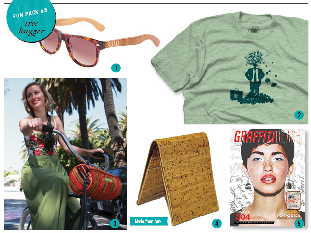 1. Bamboo Sunglasses by Solo 2. Tee by Urban Octopus 3. Bike Bag / Purse by Beatrice Holiday 4. Cork Wallet by CoolCorc 5. Print Copy of Summer 2013 Magazine