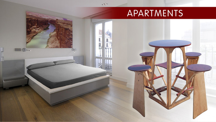 Bedrooms and living spaces for apartments and condos