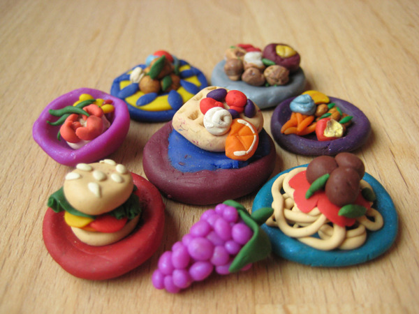 Look at these tiny foods I sculpted!  You can have one to keep as part of the $20 package!