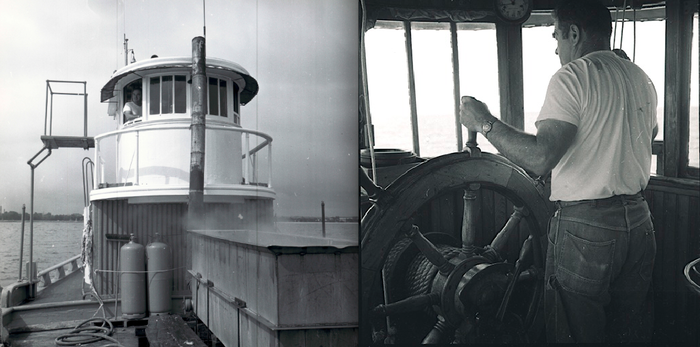 "These two photographs were taken aboard Laurel during 1968 while she was ""mopping"" for starfish. Captain Fred Beloin is at the helm in both photographs."