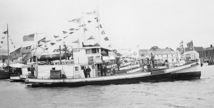 This image from 1930 shows Laurel docked at Greenport, Long Island, NY. For 50 years (from 1905 to 1955), Laurel brought seed oysters from Connecticut and planted them in the Great Peconic Bay; she returned weekly with Long Island grown oysters.
