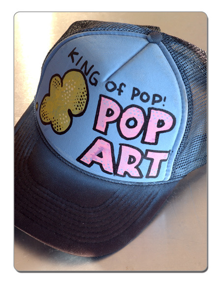 Hand drawn trucker hat by real Pop Artists!