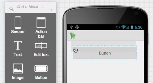 Add a building block (button) by dragging and dropping it into place.