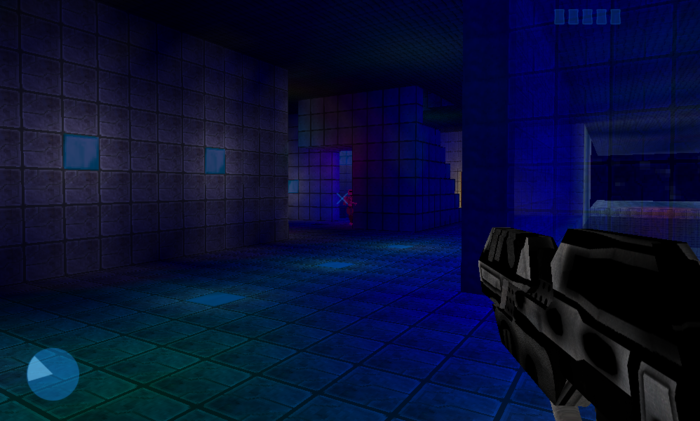 A level featuring blue-stained glass and blue light emitting blocks giving the subsurface areas a different feel