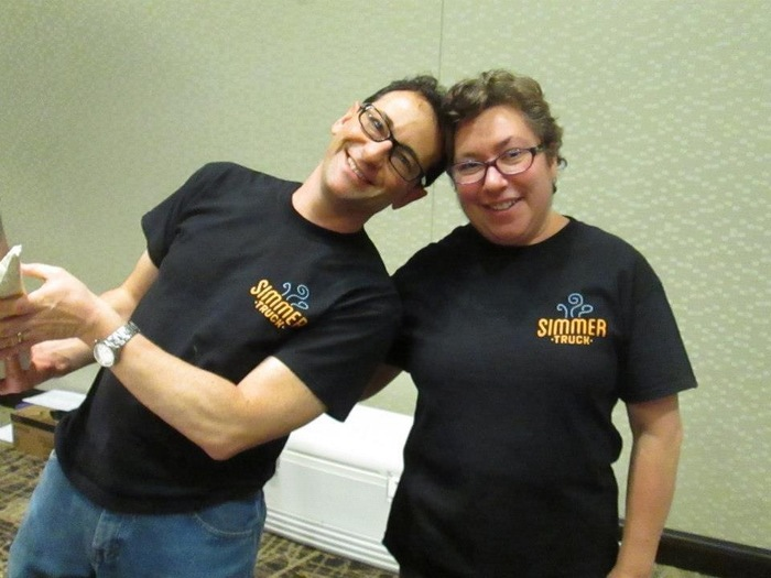 Steve and Jennifer in their ultra-cool Simmer shirts.