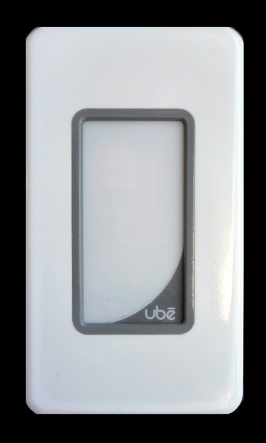 This is the prototype Ube Premium dimmer. The final product fits with any standard decora faceplate in single and multi-gang boxes. Click this link to see renderings on our website.