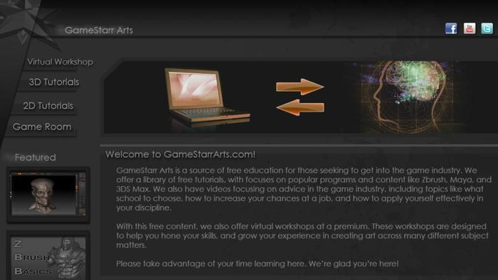 GameStarr Arts Site Concept