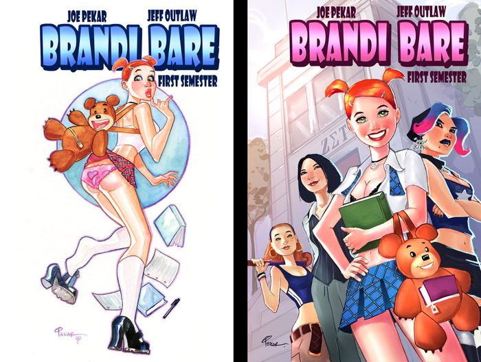 Covers to issues 1 and 2 of Brandi Bare