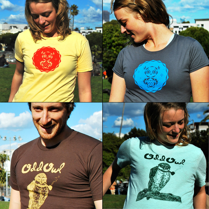 Clockwise, from top left: triangle owl in yellow, triangle owl in charcoal, spectacled owl tee in sea foam, spectacled owl tee in chocolate (Photo Credit: Erik Anderson)