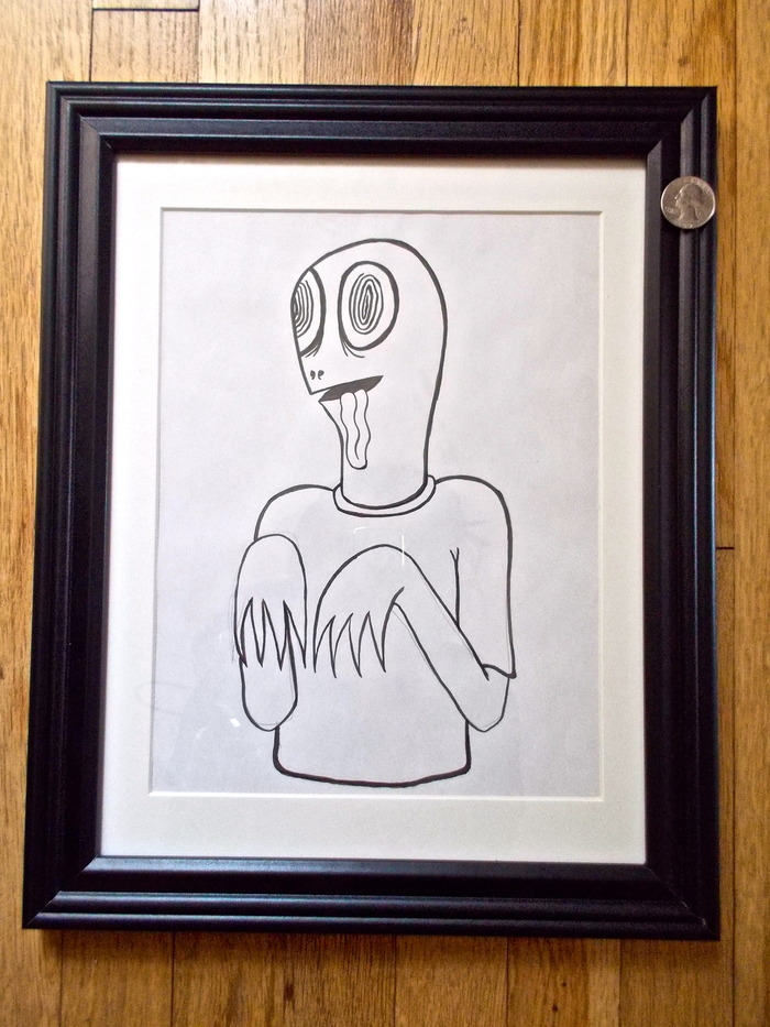 (SOLD) 'Turtle Boy' (#9) -$325   Original signed Ed Templeton drawing used in Toy Machine Production.