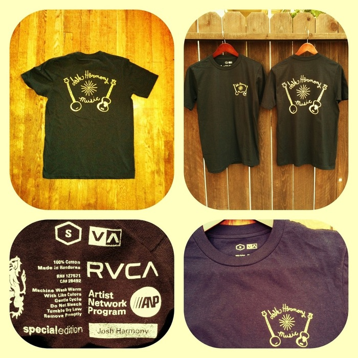 A Special Edition tee shirt of the highest quality.  Designed by Josh Harmony and produced by RVCA.  Nice yellow on black.  Sizes- Small, Medium, Large, and Extra Large.