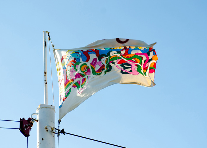 One of Katie Hargrave's flags of the Mississippi River