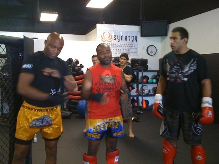 Training UFC Champion, Anderson Silva, and Fabricio Werdum, at his gym, Kings MMA.