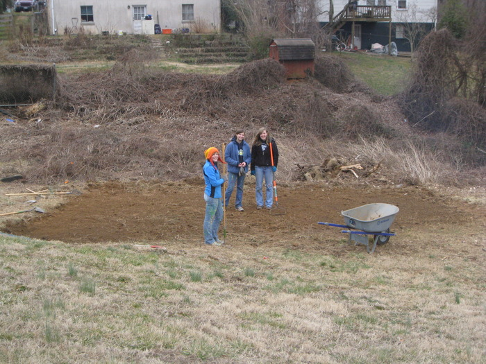 The hoophouse site this winter after intial prep work by UVA volunteers.