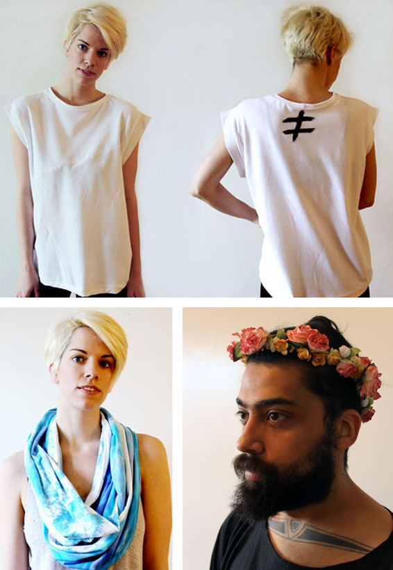 Logo tee, infinity scarf and flowered crown.