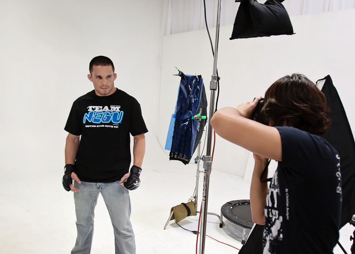 Photo shoot of UFC's Jake Ellenberger w/ Don Le.  Courtesy of NEGU.
