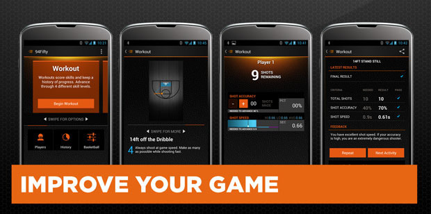 Workout mode gives you 50 challenges over 4 different levels for shooting and ball-handling. Track your history. Get better.