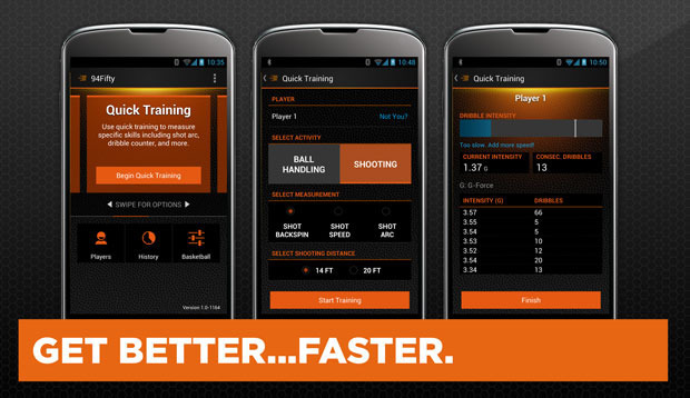 Quickly train your skills with instant coaching feedback for shot speed, shot arc, backspin, power dribbling and more.