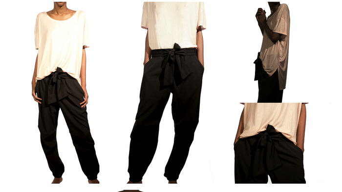 Women's Sporty Warrior trousers  w/ a Gorgeous tie $99 shown with the Slouchy tunic $65