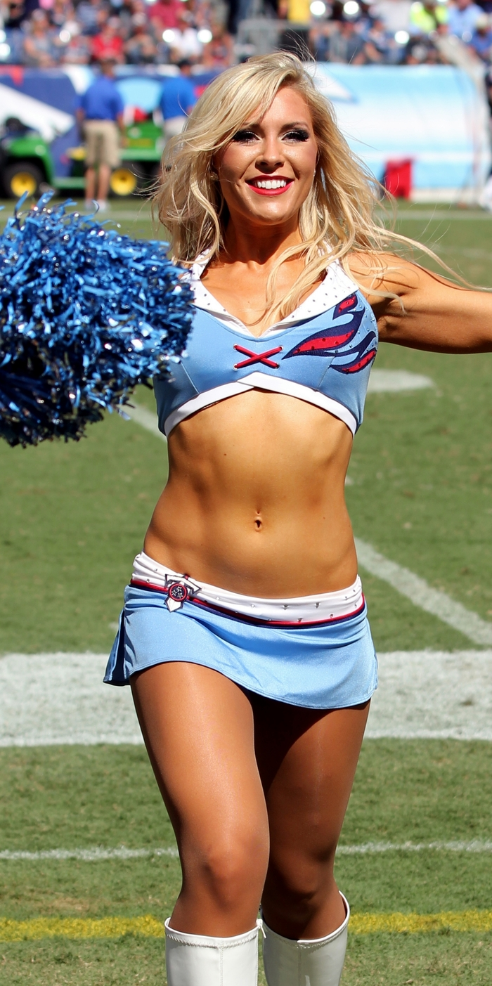 Heidi West cheering on the Tennessee Titans during the 2012-2013 season