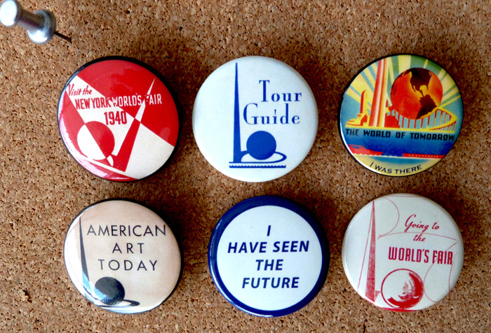 (Reward # 6) Collection of all 6 Pin-Back Buttons (1.5 inches in diameter) I custom designed and produced specifically for this exhibition.