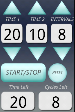 A custom app for interval training, letting you do 20 seconds of work and 10 seconds of rest for 8 cycles. It buzzes to let you know to switch.