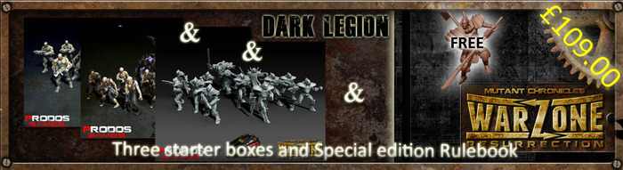 You can choose any mix of starter sets (including duplicates and triplicates) of Dark Legion, Cybertronic, The Brotherhood or MegaCorporation Bauhaus (or Capitol if we get there)