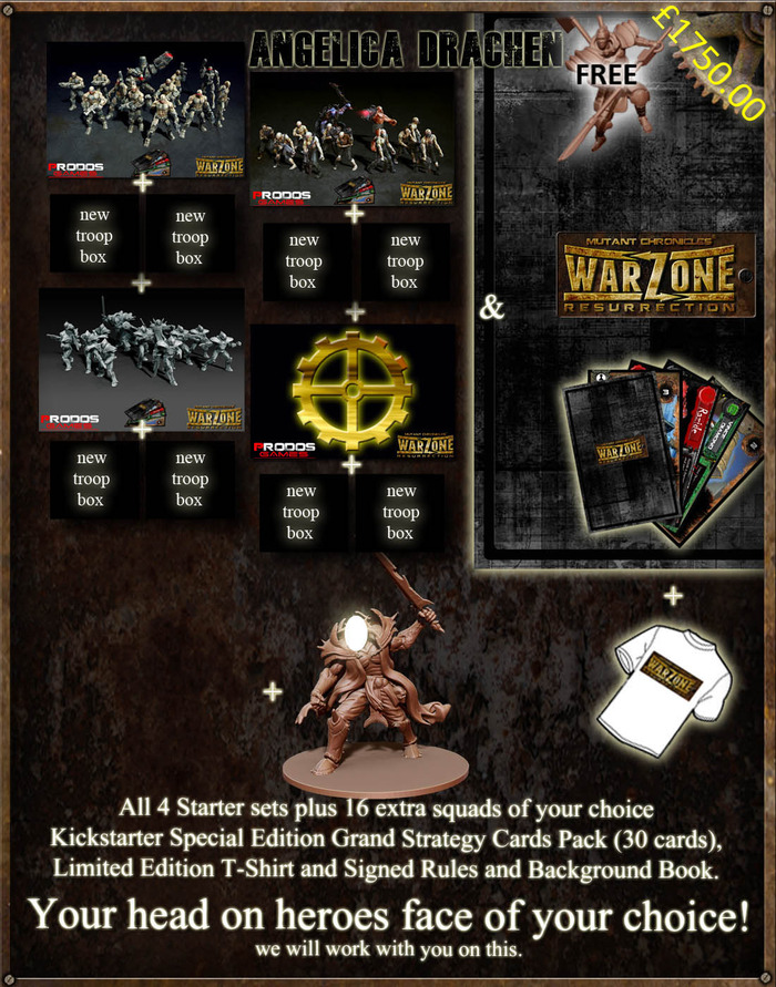 You can choose any mix of starter sets and boxes (including duplicates, triplicates or all the same) of Dark Legion, Cybertronic, The Brotherhood or MegaCorporation Bauhaus (or the 5th, 6th etc. if we get there)
