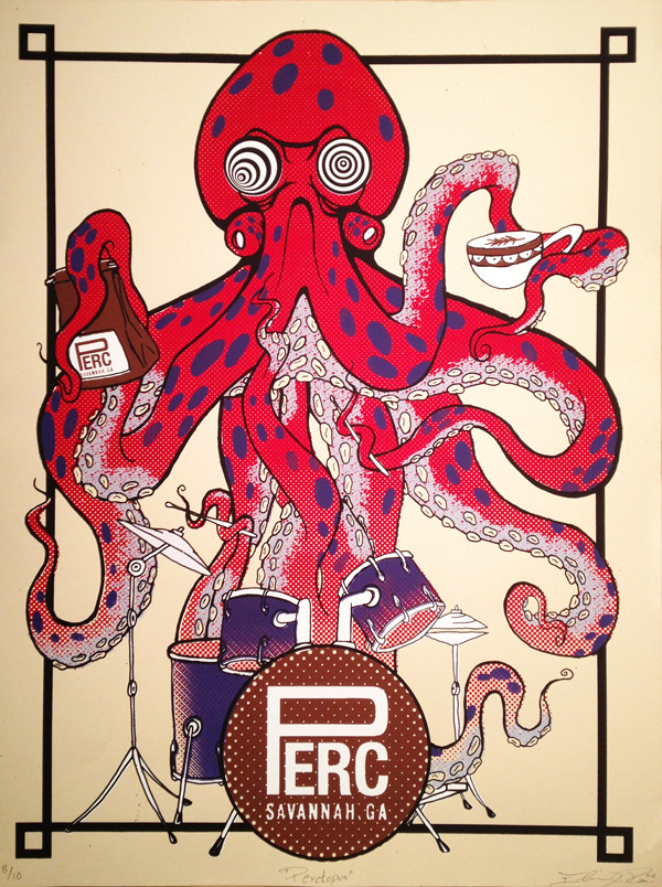 "Limited Edition Screenprinted Poster ""Perctopus"" by Elmer Ramos"
