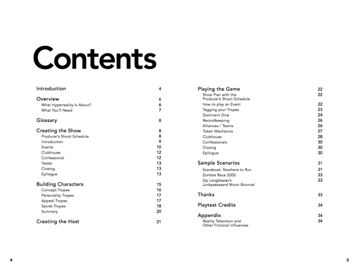 Hyperreality Table of Contents