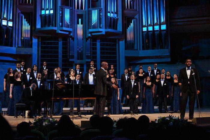 The Aeolians singing at the beautiful Moscow Performing Arts Center