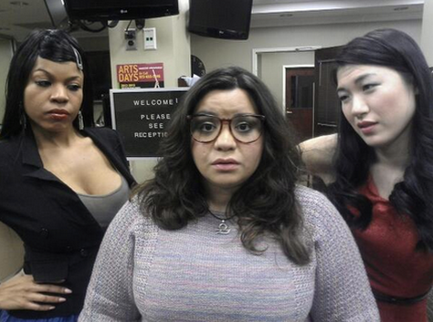 The mean office duo ganging up on Courtney. (L to R) Peju, Adrienne, and Erica. Photo found on Peju's Twitter!