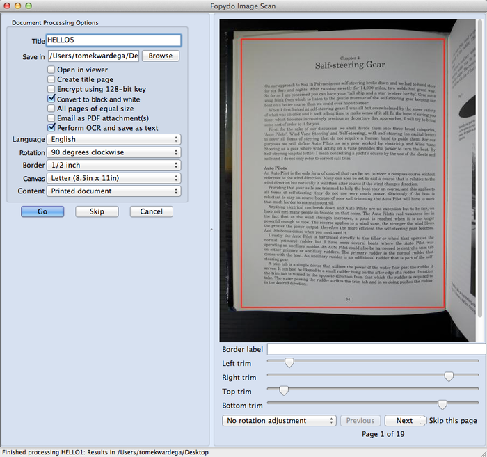 Capturing a book into PDF...