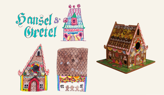 From sketch to finish!  The Hansel and Gretel house looked delicious starting with the early sketches, but really came to life when covered with Sara's hand-painted candy pieces