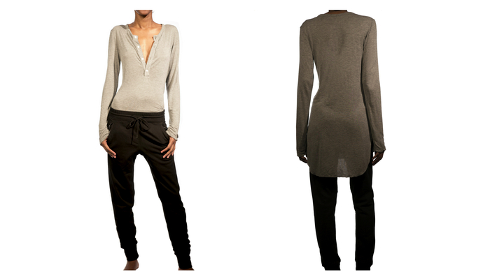 Women's Featherweight Cashmere/Modal Henley $99 shown with Lean urban pant with exposed zippers $99
