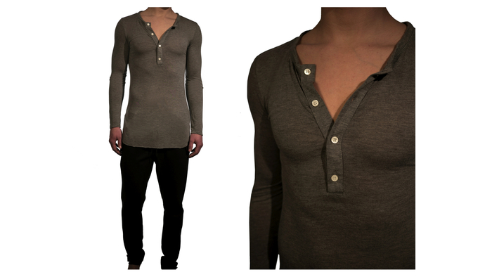Featherweight Cashmere/Modal Henley - $99  I designed this Henley with perfect details and fit
