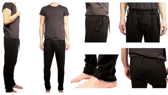 Men's Lean Futuristic Tailored Knit Trouser $99 What I wore for NY Times. Great details like tab pockets and tab detailing at the hem. Super soft fabric makes them so comfortable they will be your new favorite sweats. Shown with Men's Precise T-shirt $50